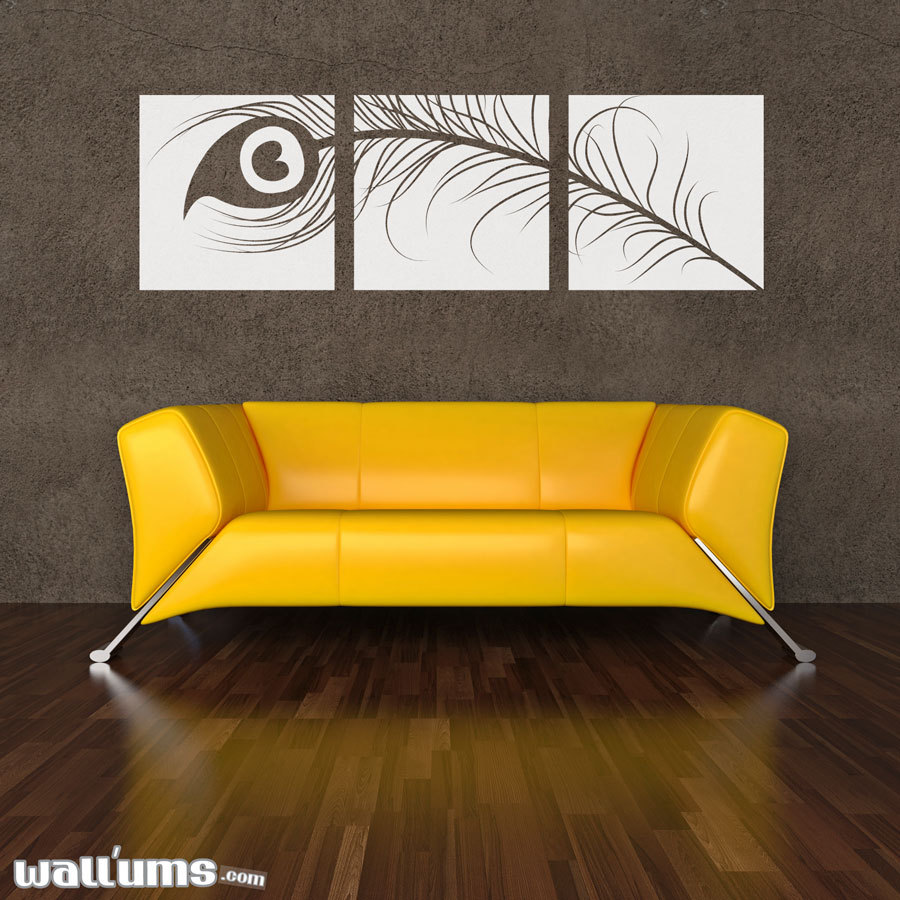 """Peacock Feather Triptych Wall Decal 60"""" x 19"""" - Vinyl Wall Art Decal Sticker"""