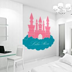"""60"""" Princess Castle in Clouds - Custom Name Wall Decal - Children's Room and Nursery Vinyl Wall Art Decal Sticker"""